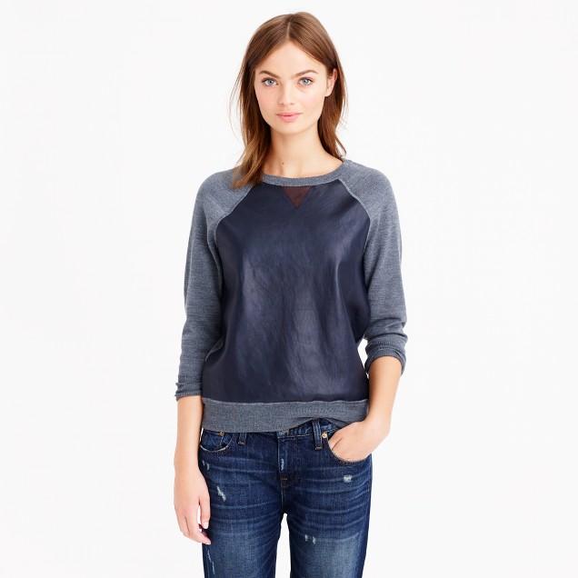 Merino wool leather-front sweatshirt