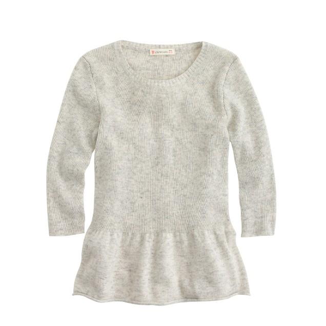 Girls' peplum sweater
