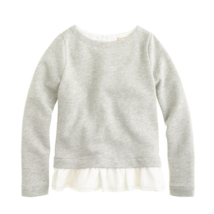 Girls' silk-ruffle sweatshirt