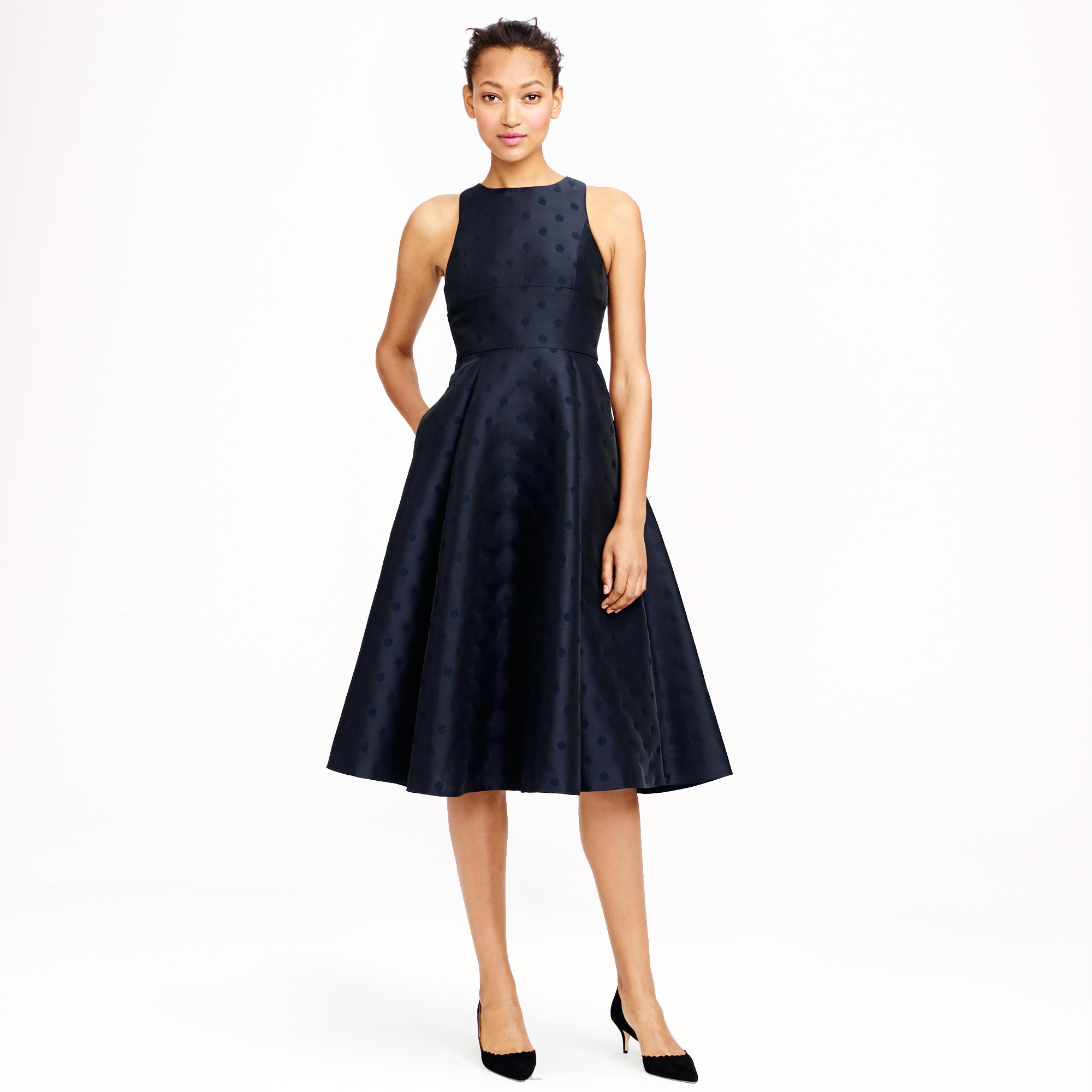 Black dress j crew - Collection Jacquard Dot Dress