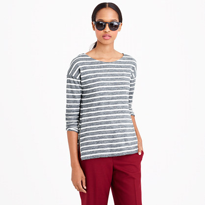 Side-zip stripe T-shirt