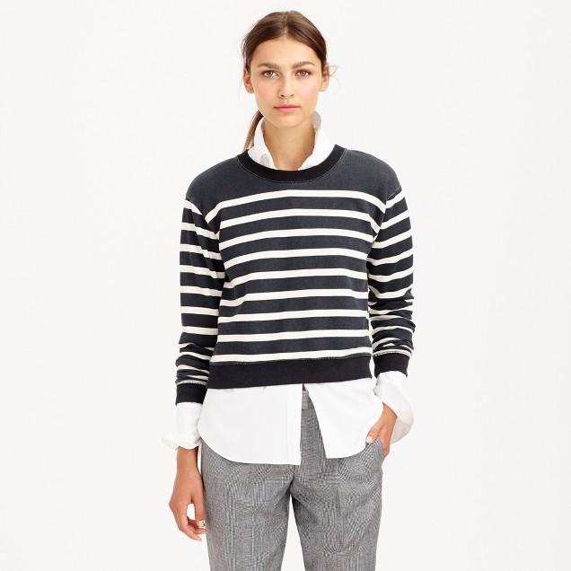 Stripe cropped sweatshirt