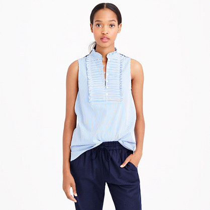 Pleated bib top in stripe