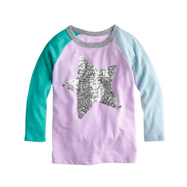 Girls 39 sequin star colorblock baseball t shirt j crew for Girls sequin t shirt