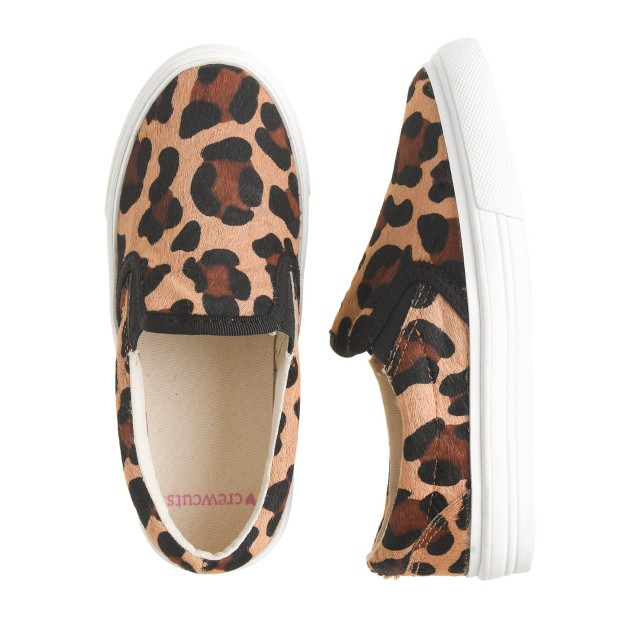 Girls' calf hair slip-on sneakers