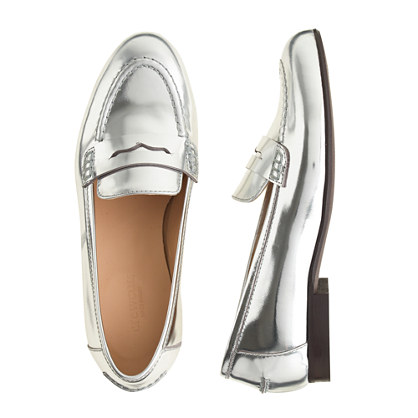 Girls' mirror metallic penny loafers