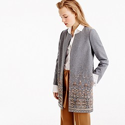 Collection cocoon coat in embellished Italian wool melton