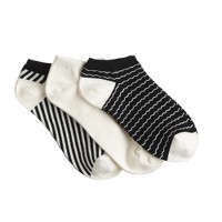 Mixed pattern ankle socks three-pack