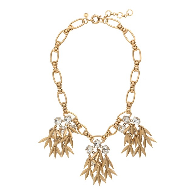 Jeweled quill statement necklace