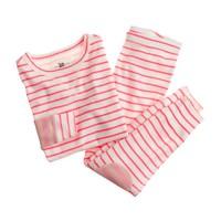 Girls' pajama set in contrast stripe