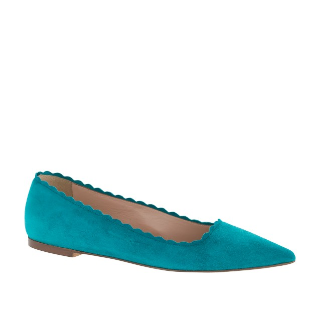 Harper scalloped suede flats