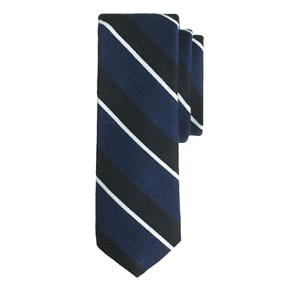 English wool-silk tie in mixed stripe