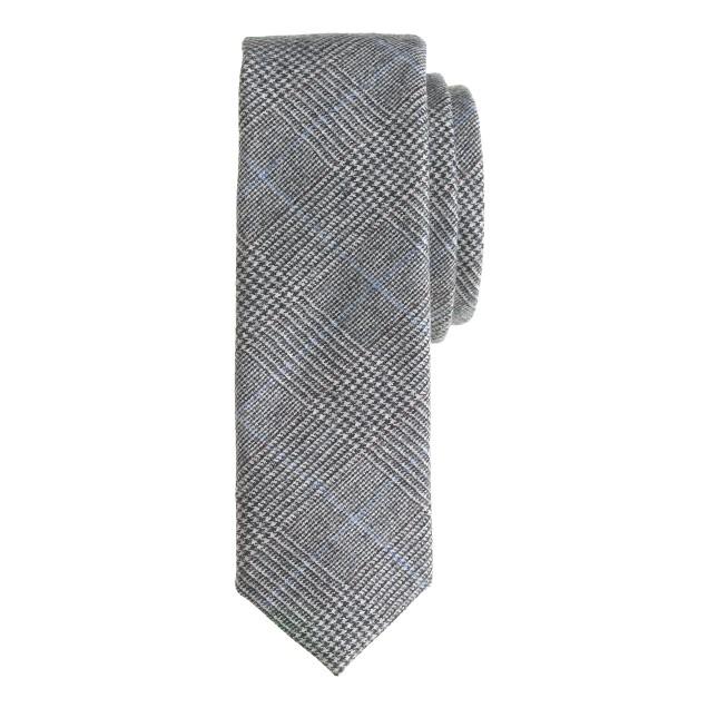 English wool tie in glen plaid