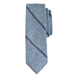 English silk tweed tie in thin stripe