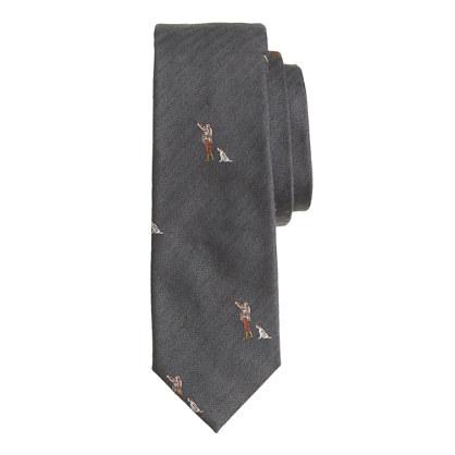 Italian silk tie in huntsman print