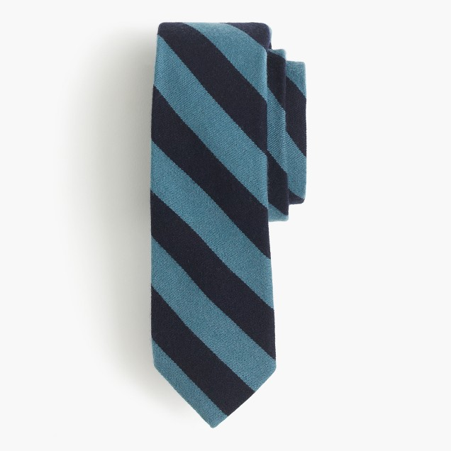 English wool-silk tie in double stripe