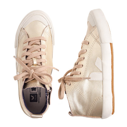 Girls' Veja™ metallic leather zip sneakers (sm sizes)
