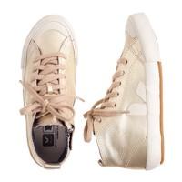 Girls' Veja™ metallic leather zip sneakers (sm sizes)