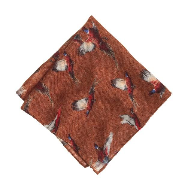 Italian wool pocket square in pheasant print