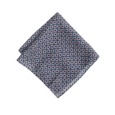 Italian wool pocket square in blue foulard