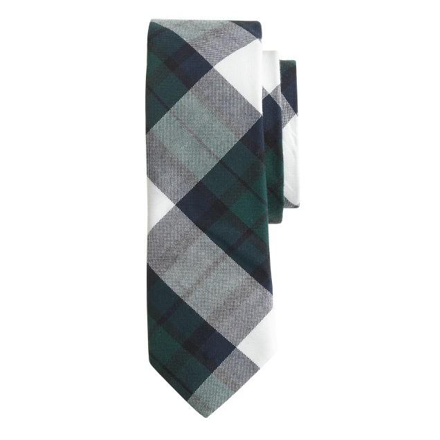 Cotton tie in spruce plaid