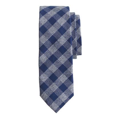 Cotton tie in tweedy gingham