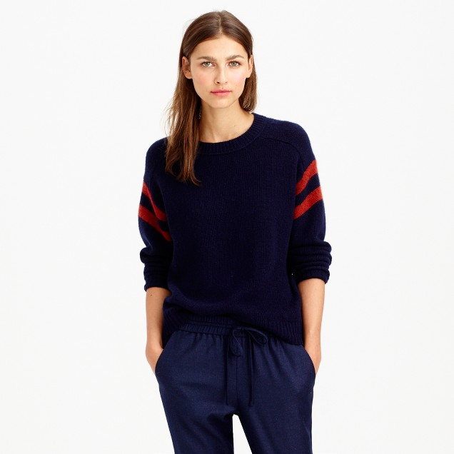 Collection cashmere sweater in varsity stripe