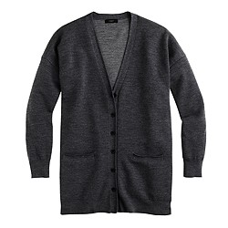 Merino wool double-knit long cardigan sweater