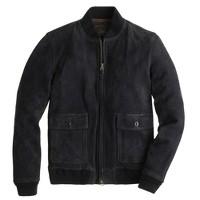 Suede bomber jacket in navy