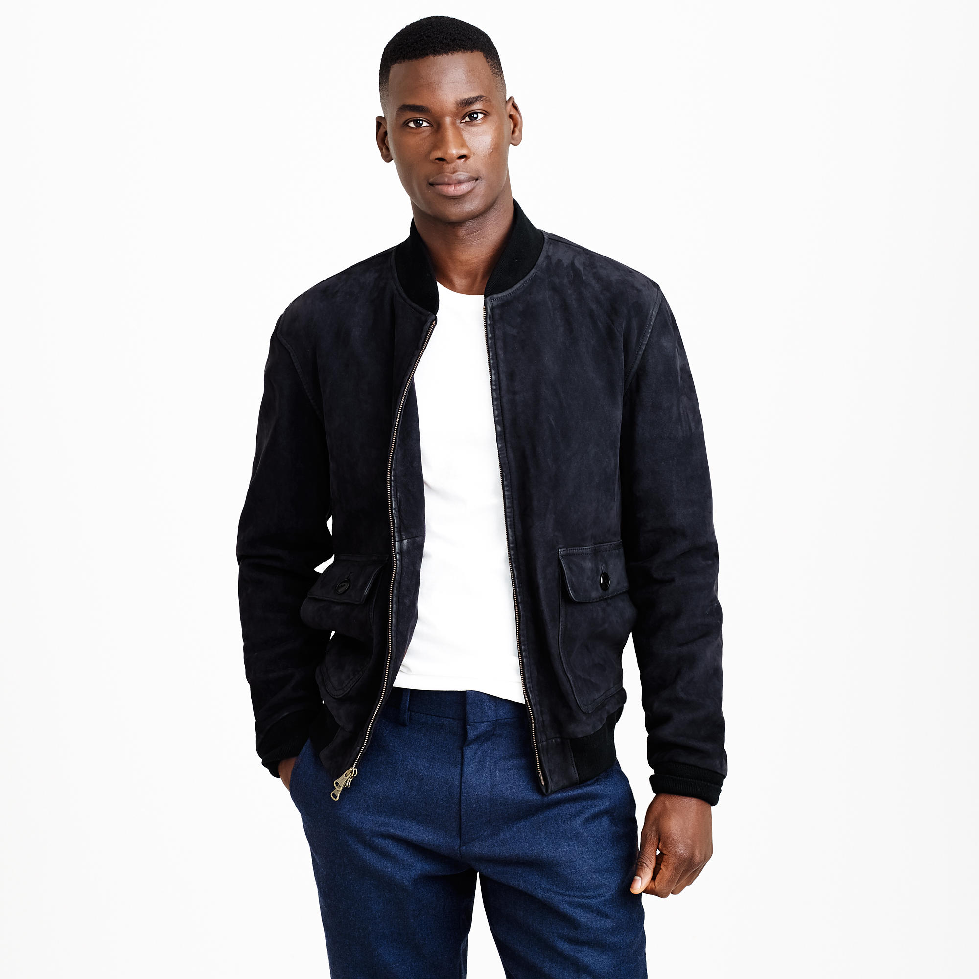 Suede bomber jacket in navy : | J.Crew
