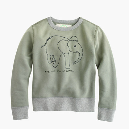 Kids' crewcuts for David Sheldrick Wildlife Trust elephant sweatshirt