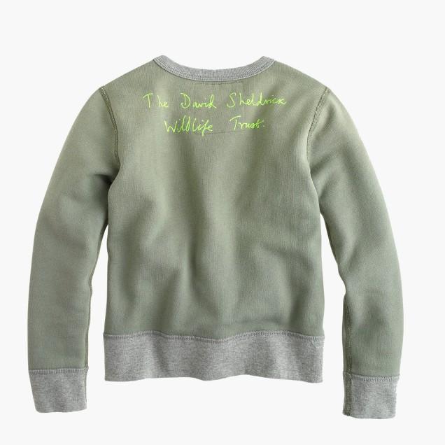 Kids' crewcuts for David Sheldrick Wildlife Trust elephant sweatshirt