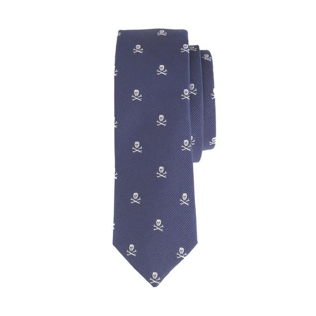 Boys' silk tie in skull and crossbones