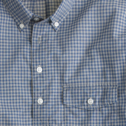 Secret Wash long-sleeve popover shirt in blueberry gingham