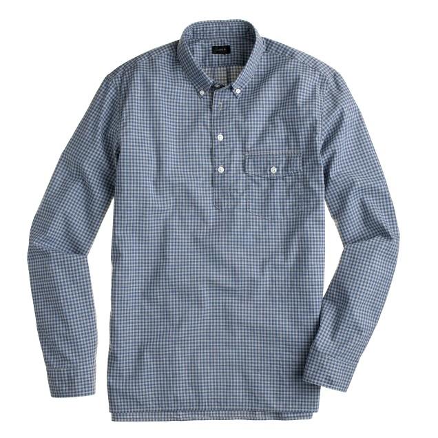 Secret Wash long-sleeve popover shirt in blueberry gingham