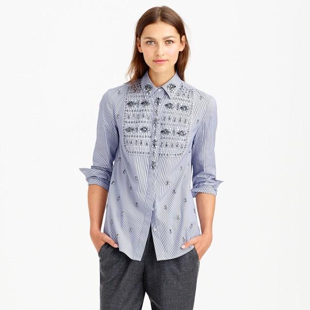 Collection jeweled bib shirt