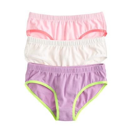 Girls' underwear three-pack in solid