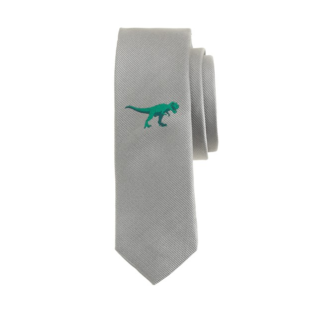 Boys' silk tie with dinosaur critter