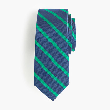 Boys' silk tie in college stripe