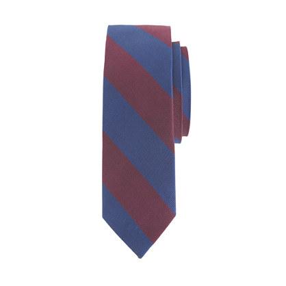 Boys' silk tie in burgundy stripe