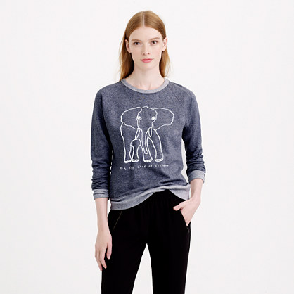 Women's J.Crew for David Sheldrick Wildlife Trust elephant sweatshirt