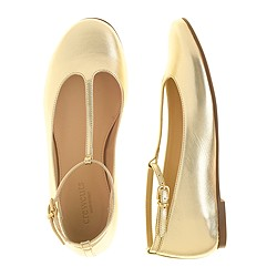 Girls' metallic leather T-strap ballet flats