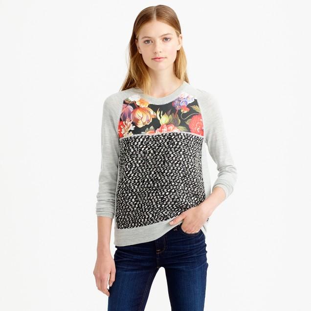 Merino wool mixed media sweater