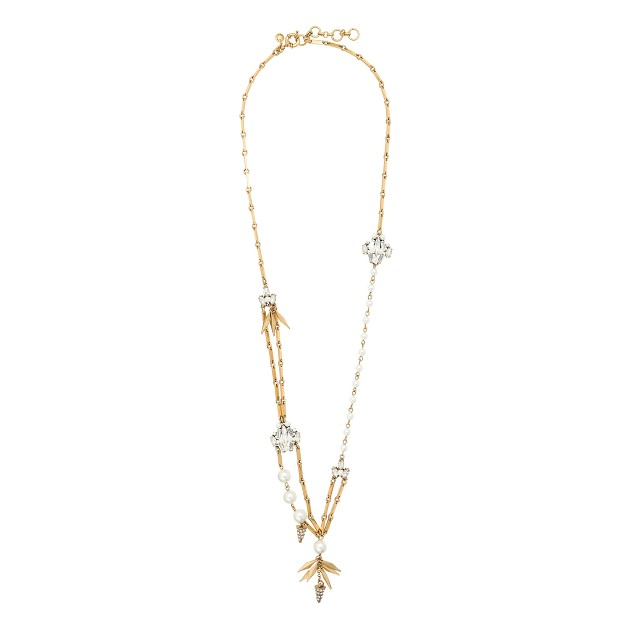 Asymmetrical pearl and crystal necklace