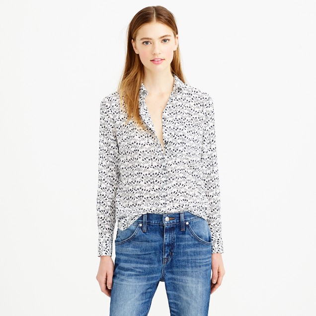 Classic silk blouse in key print