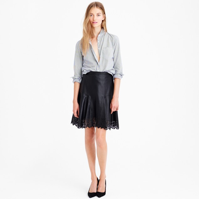 Collection plaza skirt in laser-cut leather