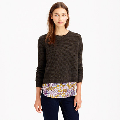 Merino shirttail sweater in Liberty tiny poppytot floral