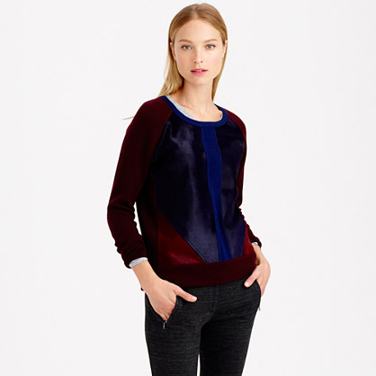 Collection colorblock calf hair sweatshirt