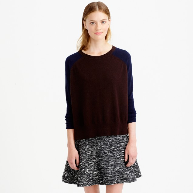 Collection cashmere side-slit sweater in colorblock