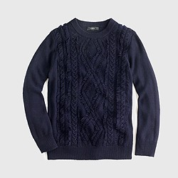 Cable crewneck sweater with fringe